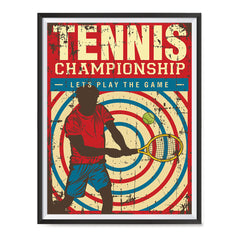 Ezposterprints - Player Blue Red | Retro Sports Series TENNIS Posters with frame photo sample