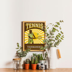 Ezposterprints - Player Brown Yellow | Retro Sports Series TENNIS Posters - 12x16 ambiance display photo sample