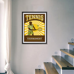 Ezposterprints - Player Brown Yellow | Retro Sports Series TENNIS Posters - 18x24 ambiance display photo sample
