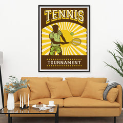 Ezposterprints - Player Brown Yellow | Retro Sports Series TENNIS Posters - 36x48 ambiance display photo sample