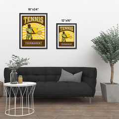 Ezposterprints - Player Brown Yellow | Retro Sports Series TENNIS Posters ambiance display photo sample