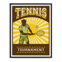 Ezposterprints - Player Brown Yellow | Retro Sports Series TENNIS Posters with frame photo sample
