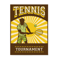 Ezposterprints - Player Brown Yellow | Retro Sports Series TENNIS Posters