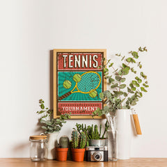 Ezposterprints - Rackets Balls | Retro Sports Series TENNIS Posters - 12x16 ambiance display photo sample