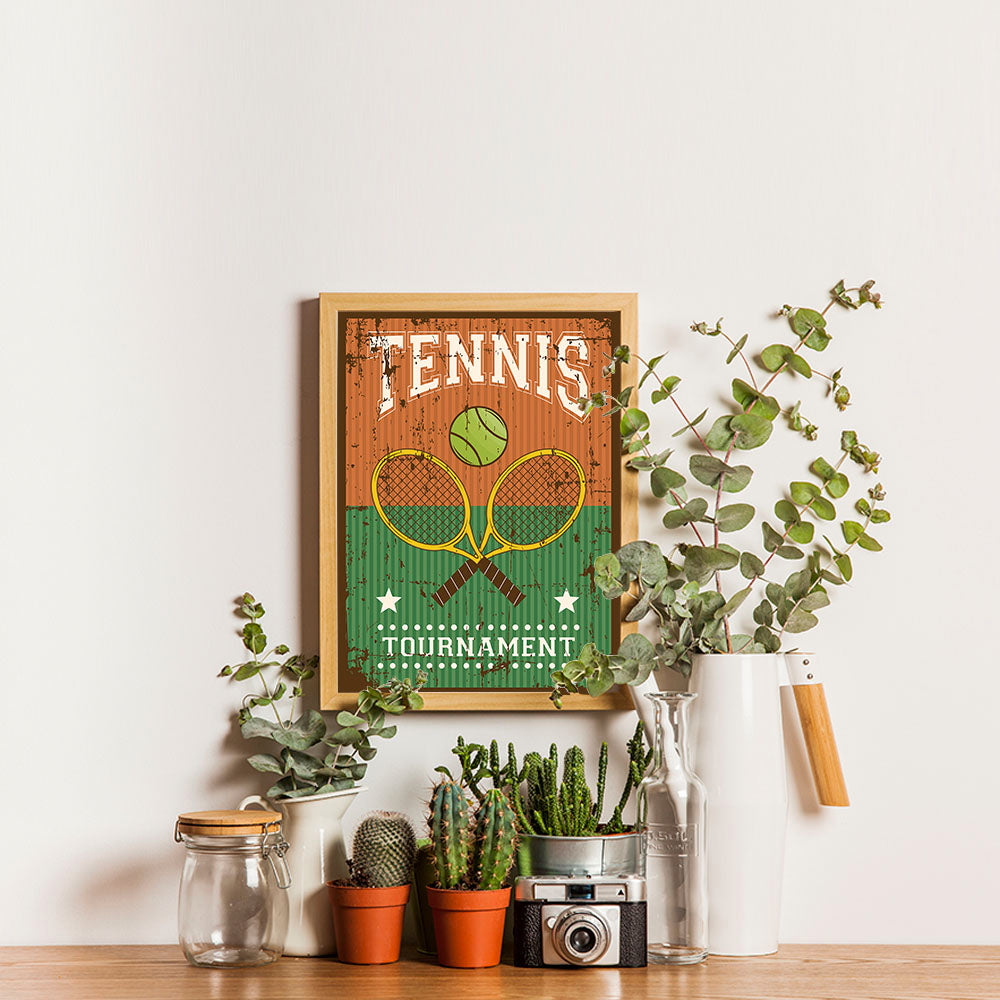 Ezposterprints - Rackets Brown | Retro Sports Series TENNIS Posters - 12x16 ambiance display photo sample