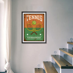 Ezposterprints - Rackets Brown | Retro Sports Series TENNIS Posters - 18x24 ambiance display photo sample