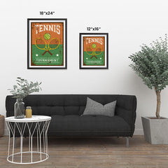 Ezposterprints - Rackets Brown | Retro Sports Series TENNIS Posters ambiance display photo sample