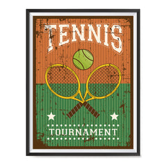 Ezposterprints - Rackets Brown | Retro Sports Series TENNIS Posters with frame photo sample