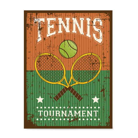 Ezposterprints - Rackets Brown | Retro Sports Series TENNIS Posters