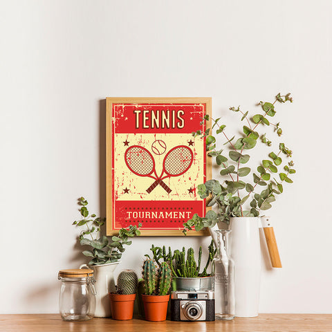 Ezposterprints - Rackets Red | Retro Sports Series TENNIS Posters - 12x16 ambiance display photo sample
