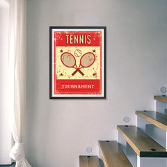 Ezposterprints - Rackets Red | Retro Sports Series TENNIS Posters - 18x24 ambiance display photo sample