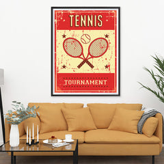 Ezposterprints - Rackets Red | Retro Sports Series TENNIS Posters - 36x48 ambiance display photo sample