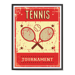 Ezposterprints - Rackets Red | Retro Sports Series TENNIS Posters with frame photo sample