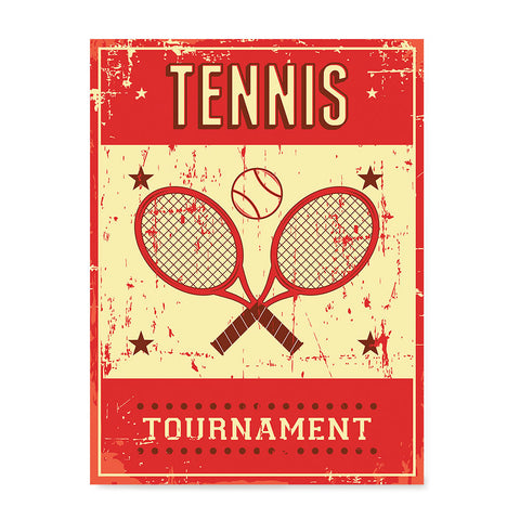 Ezposterprints - Rackets Red | Retro Sports Series TENNIS Posters