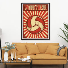 Ezposterprints - Ball Dark Red | Retro Sports Series VOLLEYBALL Posters - 36x48 ambiance display photo sample