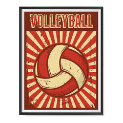 Ezposterprints - Ball Dark Red | Retro Sports Series VOLLEYBALL Posters with frame photo sample