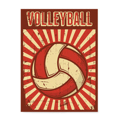 Ezposterprints - Ball Dark Red | Retro Sports Series VOLLEYBALL Posters