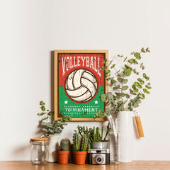 Ezposterprints - Ball Green Red | Retro Sports Series VOLLEYBALL Posters - 12x16 ambiance display photo sample
