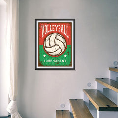 Ezposterprints - Ball Green Red | Retro Sports Series VOLLEYBALL Posters - 18x24 ambiance display photo sample