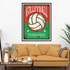 Ezposterprints - Ball Green Red | Retro Sports Series VOLLEYBALL Posters - 36x48 ambiance display photo sample