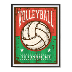 Ezposterprints - Ball Green Red | Retro Sports Series VOLLEYBALL Posters with frame photo sample