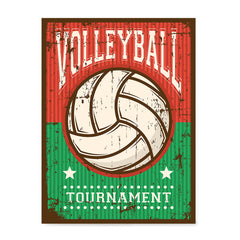 Ezposterprints - Ball Green Red | Retro Sports Series VOLLEYBALL Posters