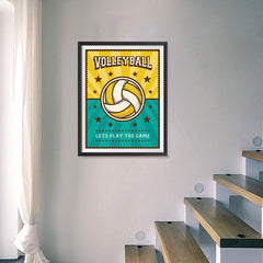 Ezposterprints - Ball Green Yellow | Retro Sports Series VOLLEYBALL Posters - 18x24 ambiance display photo sample