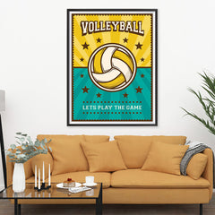 Ezposterprints - Ball Green Yellow | Retro Sports Series VOLLEYBALL Posters - 36x48 ambiance display photo sample
