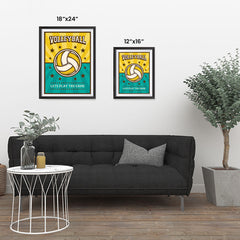 Ezposterprints - Ball Green Yellow | Retro Sports Series VOLLEYBALL Posters ambiance display photo sample