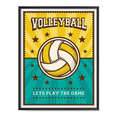 Ezposterprints - Ball Green Yellow | Retro Sports Series VOLLEYBALL Posters with frame photo sample