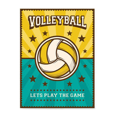 Ezposterprints - Ball Green Yellow | Retro Sports Series VOLLEYBALL Posters