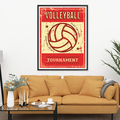 Ezposterprints - Ball Red | Retro Sports Series VOLLEYBALL Posters - 36x48 ambiance display photo sample