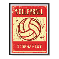 Ezposterprints - Ball Red | Retro Sports Series VOLLEYBALL Posters with frame photo sample