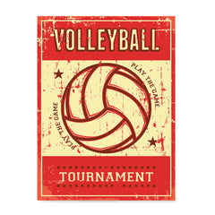Ezposterprints - Ball Red | Retro Sports Series VOLLEYBALL Posters