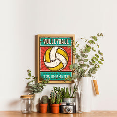 Ezposterprints - Ball Yellow | Retro Sports Series VOLLEYBALL Posters - 12x16 ambiance display photo sample