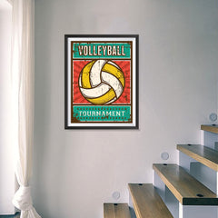 Ezposterprints - Ball Yellow | Retro Sports Series VOLLEYBALL Posters - 18x24 ambiance display photo sample