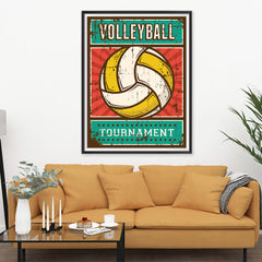 Ezposterprints - Ball Yellow | Retro Sports Series VOLLEYBALL Posters - 36x48 ambiance display photo sample