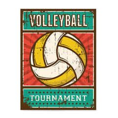 Ezposterprints - Ball Yellow | Retro Sports Series VOLLEYBALL Posters