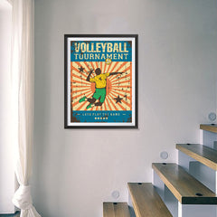 Ezposterprints - Player Blue | Retro Sports Series VOLLEYBALL Posters - 18x24 ambiance display photo sample