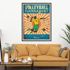 Ezposterprints - Player Blue | Retro Sports Series VOLLEYBALL Posters - 36x48 ambiance display photo sample
