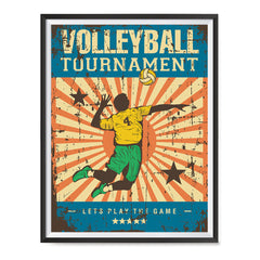 Ezposterprints - Player Blue | Retro Sports Series VOLLEYBALL Posters with frame photo sample