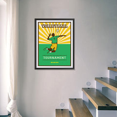 Ezposterprints - Player Green | Retro Sports Series VOLLEYBALL Posters - 18x24 ambiance display photo sample