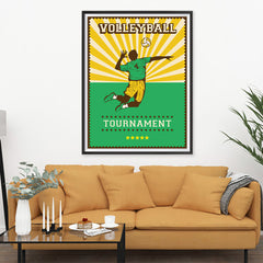 Ezposterprints - Player Green | Retro Sports Series VOLLEYBALL Posters - 36x48 ambiance display photo sample
