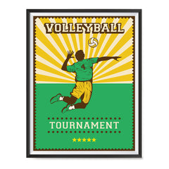 Ezposterprints - Player Green | Retro Sports Series VOLLEYBALL Posters with frame photo sample