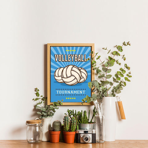 Ezposterprints - Three Balls | Retro Sports Series VOLLEYBALL Posters - 12x16 ambiance display photo sample