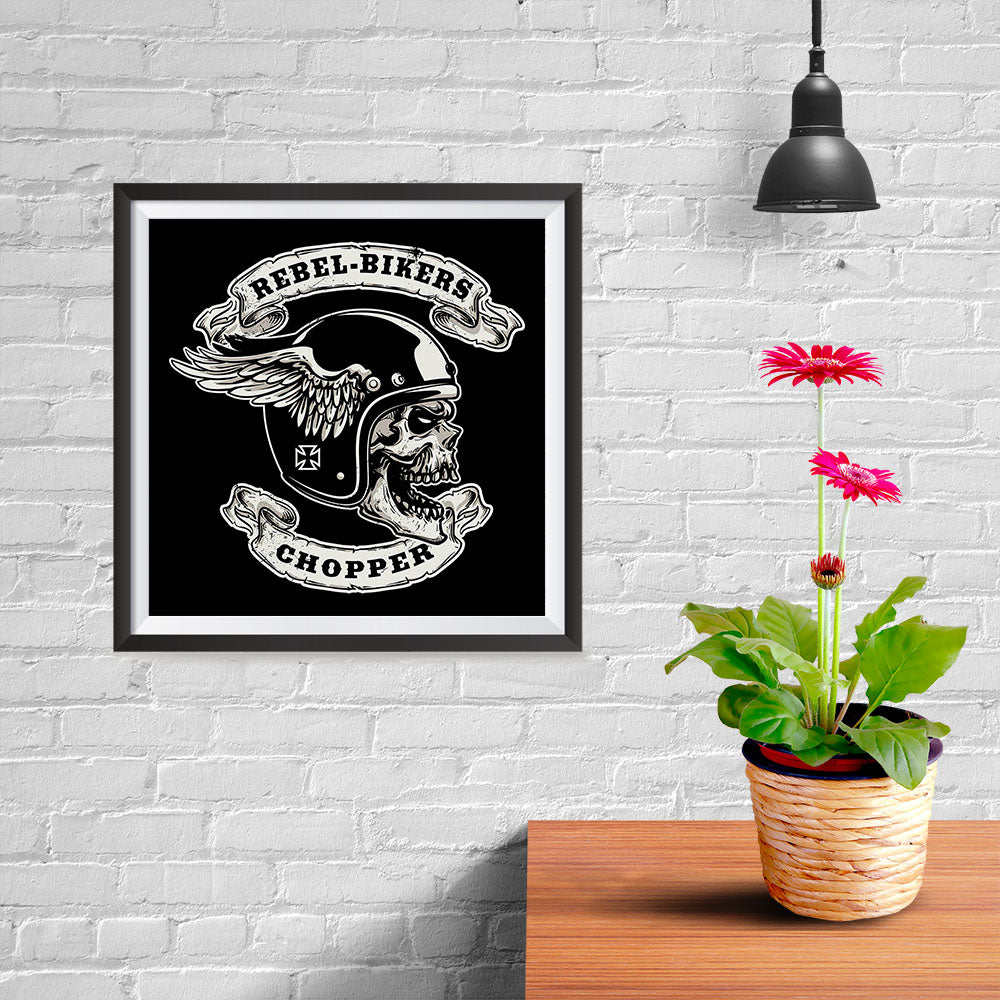 Ezposterprints - Rebel Bikers Skull Riders - 10x10 ambiance display photo sample