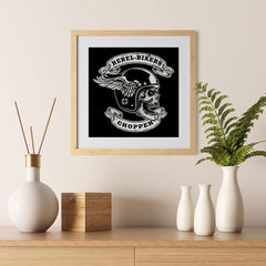 Ezposterprints - Rebel Bikers Skull Riders - 12x12 ambiance display photo sample