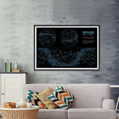 Ezposterprints - Detailed Sky Map Constellations With Star Names Poster - 48x32 ambiance display photo sample