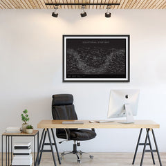 Ezposterprints - Equatorial Star Map - Black Poster - 36x24 ambiance display photo sample