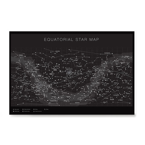 Ezposterprints - Equatorial Star Map - Black Poster